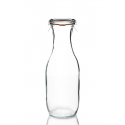 6 bottiglie WECK® Flacon® 1062 ml con coperchi in vetro e Guarnizioni (graffe non incluse)