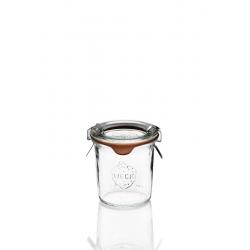 12 glazen in glas Weck® recht DROIT 140 ml met deksels en verbindingsstukken (niet ingesloten clips)
