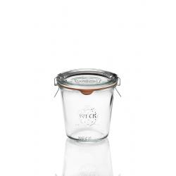 6 glazen in glas Weck® DROIT 290 Hoge ml doorsnede 80 mm, met deksels in glas en verbindingsstukken (niet ingesloten clips)