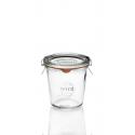 6 vasi in vetro Weck® DROIT 290 ml alti diametro 80 mm, con coperchi in vetro e guarnizioni (graffe non incluse)
