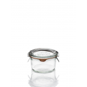 12 glass jars Weck glass special Foie gras, 165 ml with glass lids and rubber rings (clips not included).