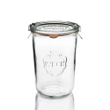 6 glass jars WECK® mold shape DROIT, with glass lids and rubber rings (clips not included)