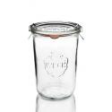 6 glazen in glas Weck® recht DROIT 850 ml met deksels in glas en verbindingsstukken (niet ingesloten clips)