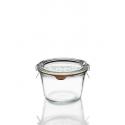 6 glazen in glas Weck® recht DROIT 370 ml met deksels in glas en verbindingsstukken (niet ingesloten clips)