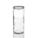6 tarros WECK® Tube® 1040 ml con tapas en vidrio y gomas (clips no incluidos).