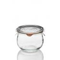 6 glazen in glas WECK® Corolle® 580 ml met deksels in glas en verbindingsstukken (niet ingesloten clips)