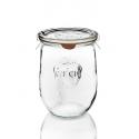 6 glazen in glas WECK Corolle® 1062 ml met deksels in glas en verbindingsstukken (niet ingesloten clips)