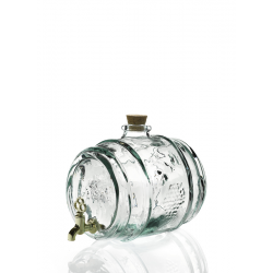 Tonneau en verre 100% recyclé, 2 litres avec robinet