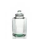 Grande Pote en vidrio, bombonera Hexagonal, en vidrio 100% reciclado, y tapa en vidrio
