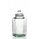 Grote Pot in glas, bonbonnière Zeshoekig, in gerecycld glas 100%, en deksel in glas