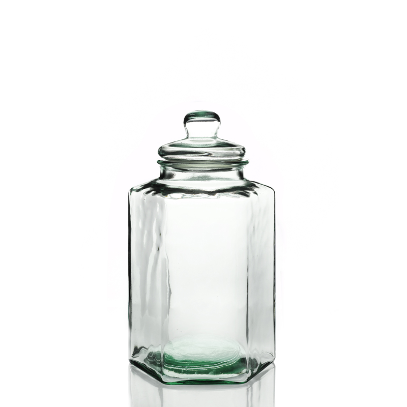 hexagonal candy jar 11 5 liters in recycled glass 100. Black Bedroom Furniture Sets. Home Design Ideas