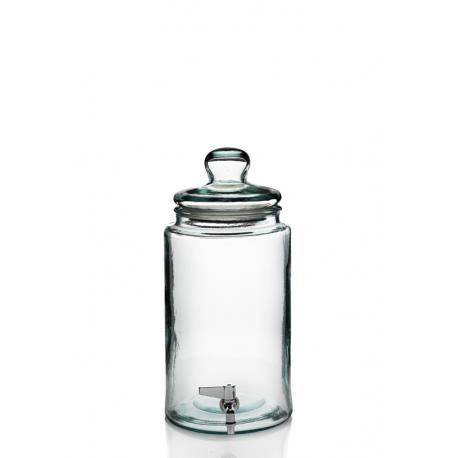 Bonbonne Cilindro, 6 litres + robinet avec couvercle en verre