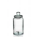 Cilindrische gasfles 6 liter met kraan en deksel in glas