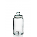 Cylindrical bottle 6 liters with tap and glass lid