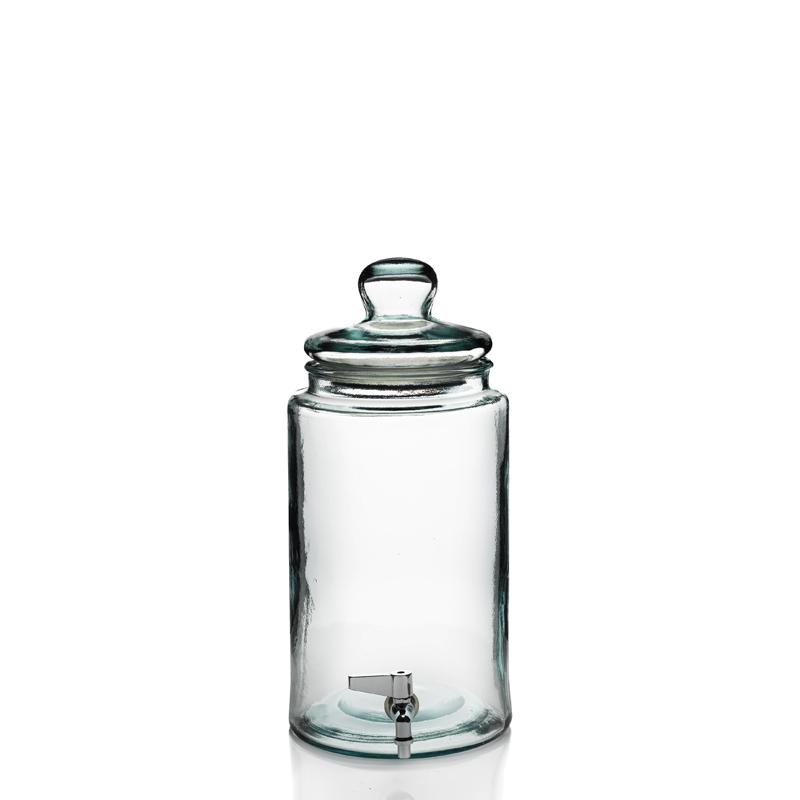 bonbonne cylindrique 6 litres avec robinet et couvercle en verre mcm emballages. Black Bedroom Furniture Sets. Home Design Ideas