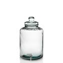 Botella Cilíndrica con grifo en vidrio 100% reciclado 12 litros, tapa en vidrio