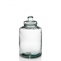 Cylindrical bottle with tap, in  glass 100% recycled, 12 liters