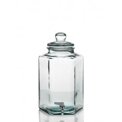 Bonbonne Hexagonale 11,5 litres en verre + robinet