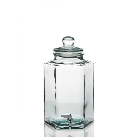 Bonbonne Hexagonale en verre 11.5 litres avec robinet