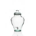 Botella jarra/ánfora en vidrio 100% reciclado, con tapa en vidrio con grifo