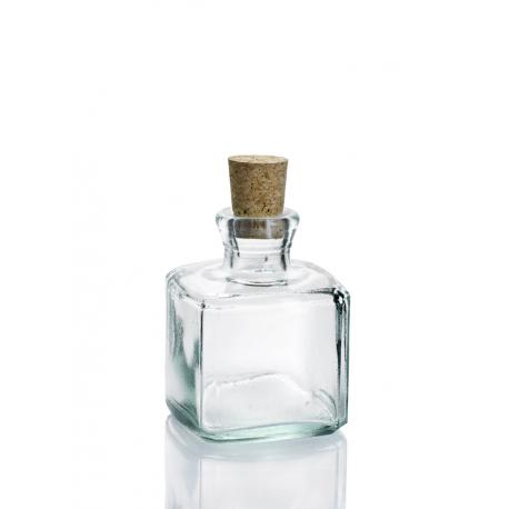 24 Mini flacons 200 ml Licorera Carrée avec bouchon en liège