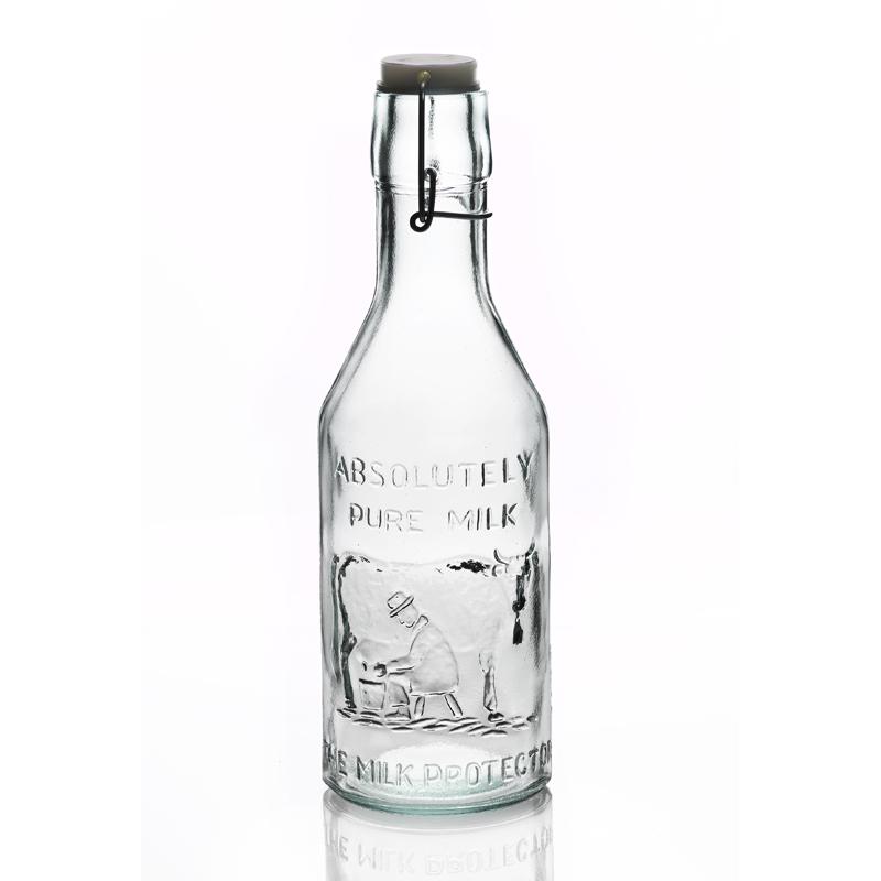 bouteille 1 litre milk avec vache capsule m canique mcm emballages. Black Bedroom Furniture Sets. Home Design Ideas