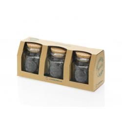 Set 3 pièces bocaux ronds 250 ml Authentic avec bouchon en liège