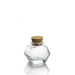 24 mini tarros HEXAGONAL 40 ml, con tapón en corcho
