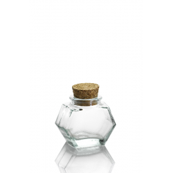 24 mini vasi HEXAGONAL 40 ml, con tappo in sughero.