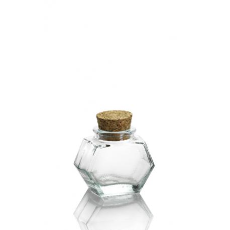 24 mini bocaux Hexagonal, bouchon en liège 40 ml