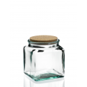 Bocal carré en verre avec bouchon en liège 1,5 litre