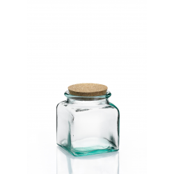 6 bocaux carrés en verre avec bouchon en liège 250 ml