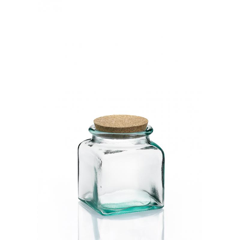 6 bocaux carr s 250 ml en verre avec bouchon en li ge mcm emballages. Black Bedroom Furniture Sets. Home Design Ideas