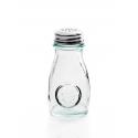 Salière et Poivrier en verre recyclé avec couvercle troué en métal