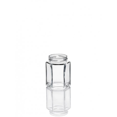21 bocaux en verre Esagonale 106 ml Haut
