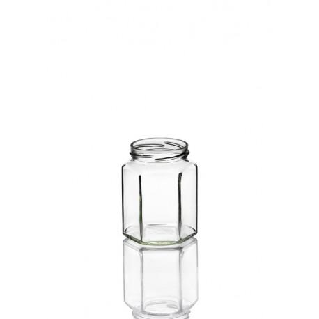 20 Bocaux Hexagonaux 285 ml, en verre