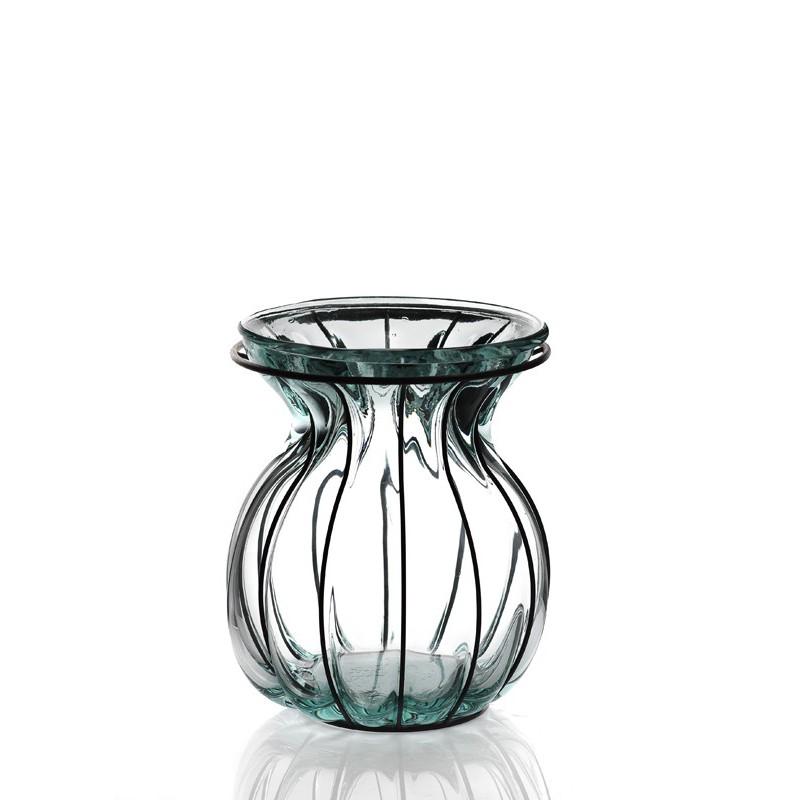 lanterne florero ovalado en verre et en fer mcm emballages. Black Bedroom Furniture Sets. Home Design Ideas
