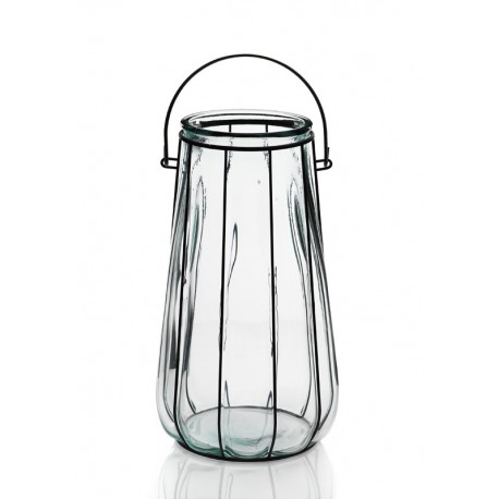 Lanterne FLORERO LINTERNA, en verre et en fer, 37 CM