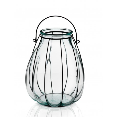 Lanterne FLORERO LINTERNA, en verre et en fer, 32 CM