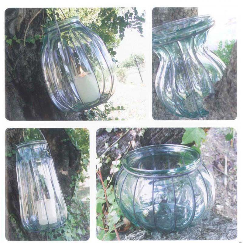 Lanterne florero ovalado en verre et en fer mcm emballages for Decoration vase en verre