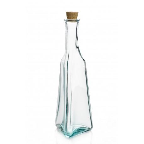 Bouteille Triangle en verre recyclé, 500 ml, avec bouchon en liège