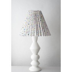 Pied de lampe en céramique Blanc, grand modèle 52 cm, designer danoise Elise Larsen + support pour abat-jour