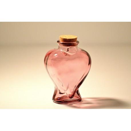 "6 Flacons en Coeur Roses ""Bote Corazon"" 225 ml, avec bouchon en liège"