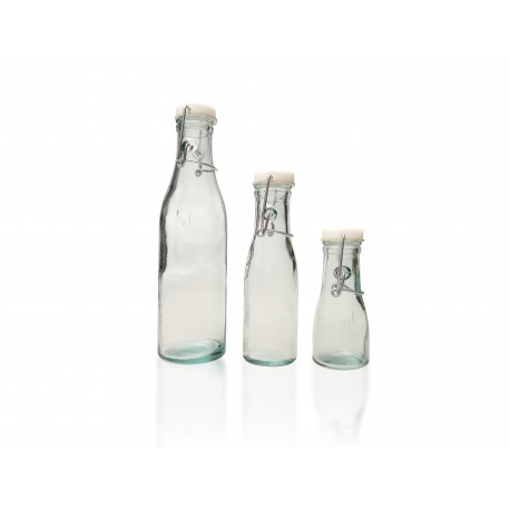 6 bouteilles 100 ml en verre 100 recycl avec fermeture. Black Bedroom Furniture Sets. Home Design Ideas