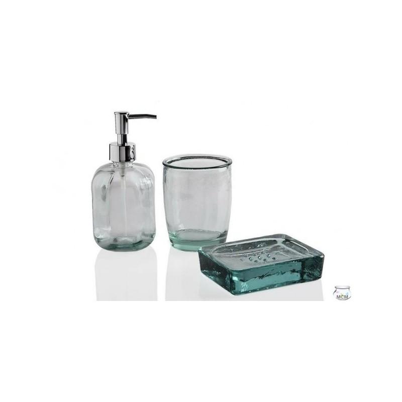 Set complet salle de bain en verre recycl verre brosse dent porte savon et distributeur for Porte savon en verre