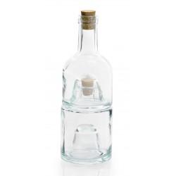 Lot de 2 bocaux et leur bouteille à empiler en verre 100% recyclé
