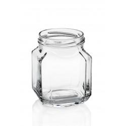 Lot de 12 bocaux en verre modèle Quadro gourmet 380 ml TO 70 mm