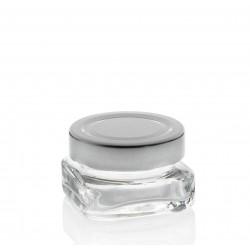 Lot de 24 bocaux TAO 40 ml, carrés avec capsule Deep argent TO 58
