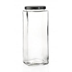 2 bocaux TAO 3100 ml forme carrée avec capsule Deep argent TO 110 mm