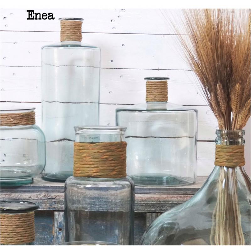 grand vase en verre 100 recycl jarron frances enea 45 cm finition raffia mcm emballages. Black Bedroom Furniture Sets. Home Design Ideas